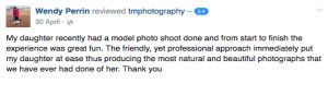 Essex Photography Customer testimonial.
